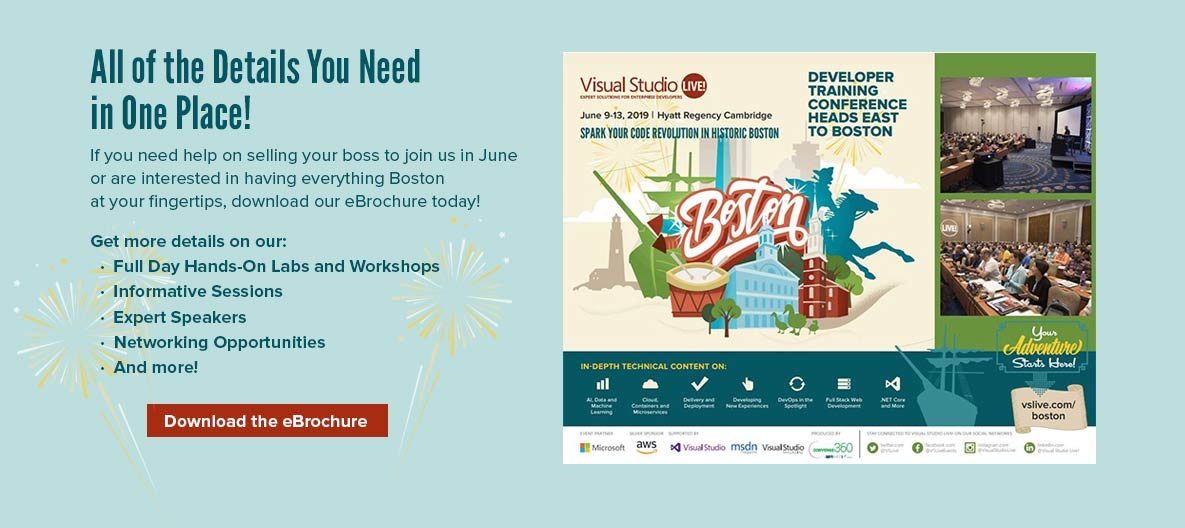 Boston 2019 -- Visual Studio Live!: Training Conferences and
